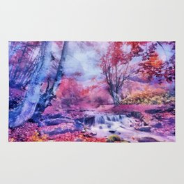 Waterfall in colorful autumn forest Rug