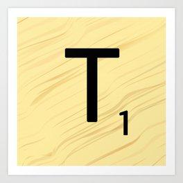 Scrabble T Initial - Large Scrabble Tile Letter Art Print