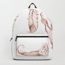Rose Gold Bull Skull with Pink Feather Flowers Backpack