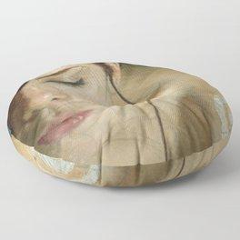 Woman Portrait Listening with Earphones Female Figurative Painting Floor Pillow