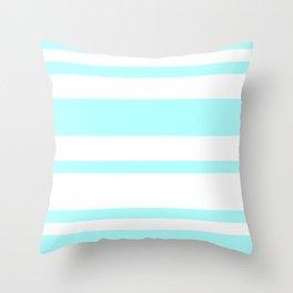 Mixed Horizontal Stripes - White and Celeste Cyan Throw Pillow