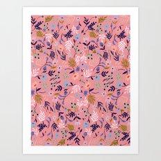 SALMON FLORAL Art Print