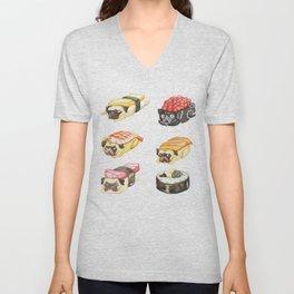 Sushi Pug Watercolor Unisex V-Neck