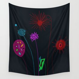 Silly Space-Age Flowers Black Background Wall Tapestry