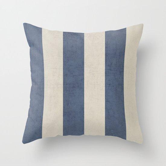vintage dark blue stripes Throw Pillow