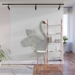WHITE ON WHITE-BEAUTIFUL SWAN Wall Mural