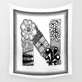 Zentangle N Monogram Alphabet Initials Wall Tapestry