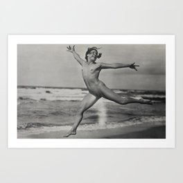 Victorian Vintage Posing Lady Erotic French Nude On Beach Art Print