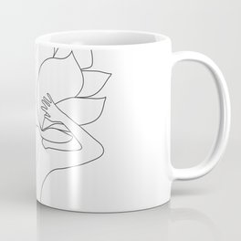 Minimal Line Art Flower Woman Coffee Mug