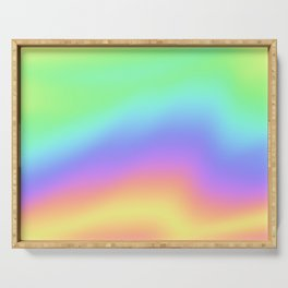 Holographic Foil Colorful Gradient Pattern Serving Tray