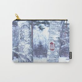 Red Bird House in Winter White Scene #decor #society6 #buyart Carry-All Pouch
