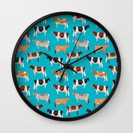 Dairy Breeds // Cerulean Wall Clock