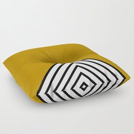MUSTARD BLACK AND WHITE STRIPES Floor Pillow