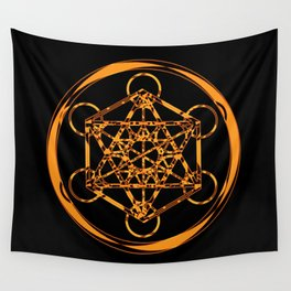 Metatron Cube Gold Wall Tapestry