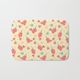 To the Window to the Narwhal - Coral & Cream Bath Mat