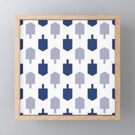 Blue Dreidels on white background for Hanukkah Framed Mini Art Print