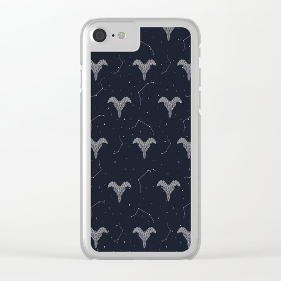 Aries Symbol Pattern Clear iPhone Case