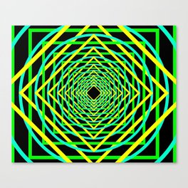 Diamonds in the Rounds Blacklight Neons Yellow Greens Canvas Print