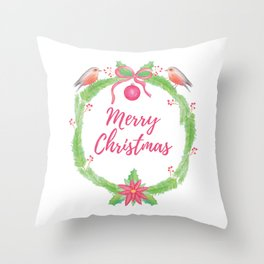 "Watercolor Holly Wreath ""Merry Christmas"" Throw Pillow"
