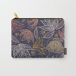 Bohemian Florals in Blue + Coral Carry-All Pouch