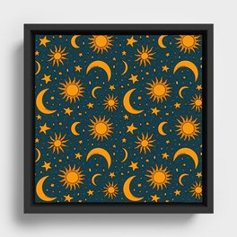 Vintage Sun and Star Print in Navy Framed Canvas