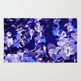 FLORAL FANTASY 2 Bold  Blue Lavender Purple Abstract Flowers Acrylic Textural Painting Garden Art Rug