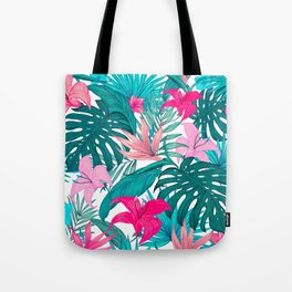 Beautiful Tropical Leaves and Flowers Tote Bag