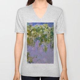 "Claude Monet ""Wisteria"", 1920 (left side) Unisex V-Neck"