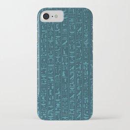 Hieroglyphics Moonstone BLUE / Ancient Egyptian hieroglyphics pattern iPhone Case