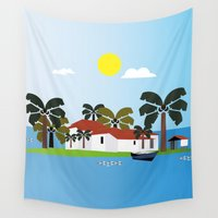 mexican Wall Tapestries featuring Mexican Villa by Design4u Studio