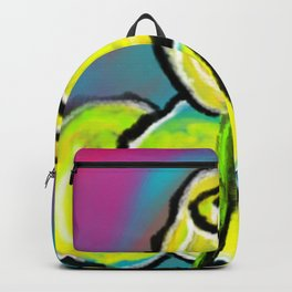 Colorful Yellow Rose Flowers with Purple Blue and Green Backpack