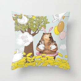 Cute Miss you card design. Throw Pillow