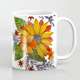 Watercolor sunflower - yellow, orange, green and violet Coffee Mug