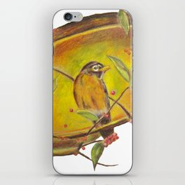 Festive Christmas Bird on a Berry Tree for Autumn and the Holidays iPhone Skin