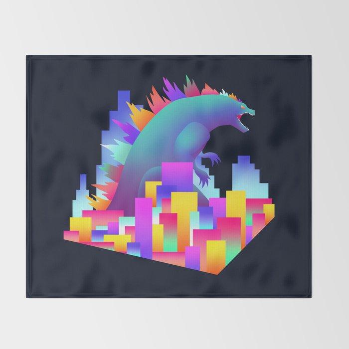 Neon city Godzilla Throw Blanket