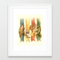 lion Framed Art Prints featuring House Brawl by Alice X. Zhang