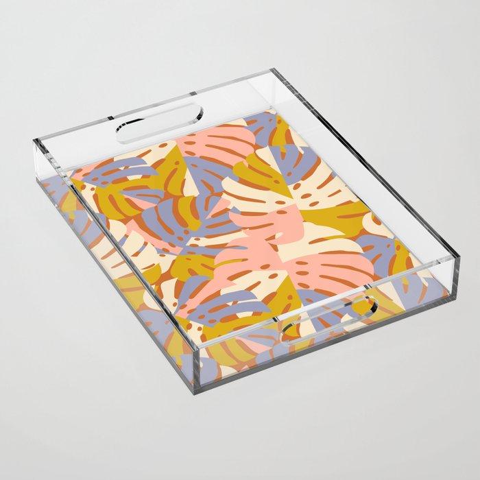Color Block Monstera Pink + Lavender Acrylic Tray