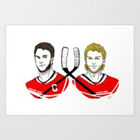 blackhawks Art Prints featuring Toews & Kane by Kana Aiysoublood