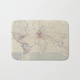 Vintage World Air Travel Map (1919) Bath Mat