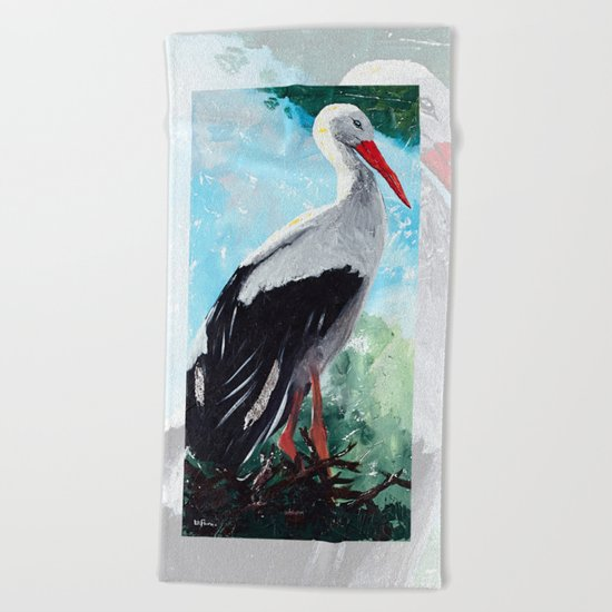 Animal - The beautiful stork - by LiliFlore Beach Towel