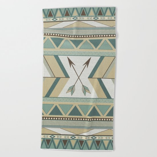 Aztec Pattern Arrows Beach Towel