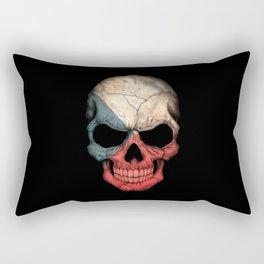 Dark Skull with Flag of Czech Republic Rectangular Pillow