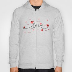 Love, Butterfly Hearts & Text Unique Valentine Hoody