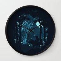 kodama Wall Clocks featuring Forest Spirit by filiskun