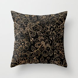 Gold Roses II Throw Pillow