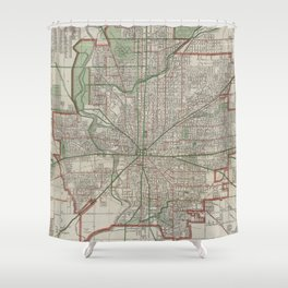 Vintage Map of Indianapolis Indiana (1921) Shower Curtain