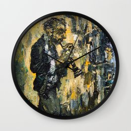 street musician playing on clarinet Wall Clock