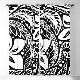 Circular Polynesian White Floral Tattoo Blackout Curtain