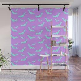 Blue Bat Pattern on Purple Wall Mural