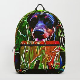 doberman dog red flowers meadow vector art Backpack
